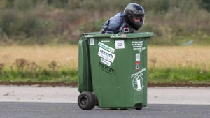 Engineer sets new Guinness World Record for fastest wheelie bin