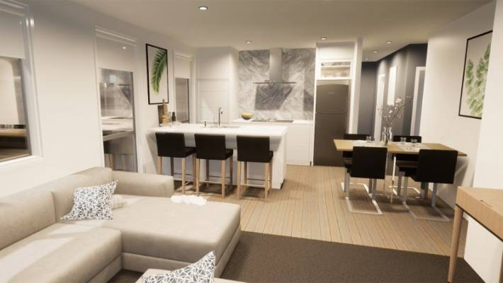 The construction materials are being locally sourced, wherever possible, and that the show home, which is due to open near the end of this year will feature New Zealand wool carpet and sustainable engineered timber floorboards. Images are artist impressions.