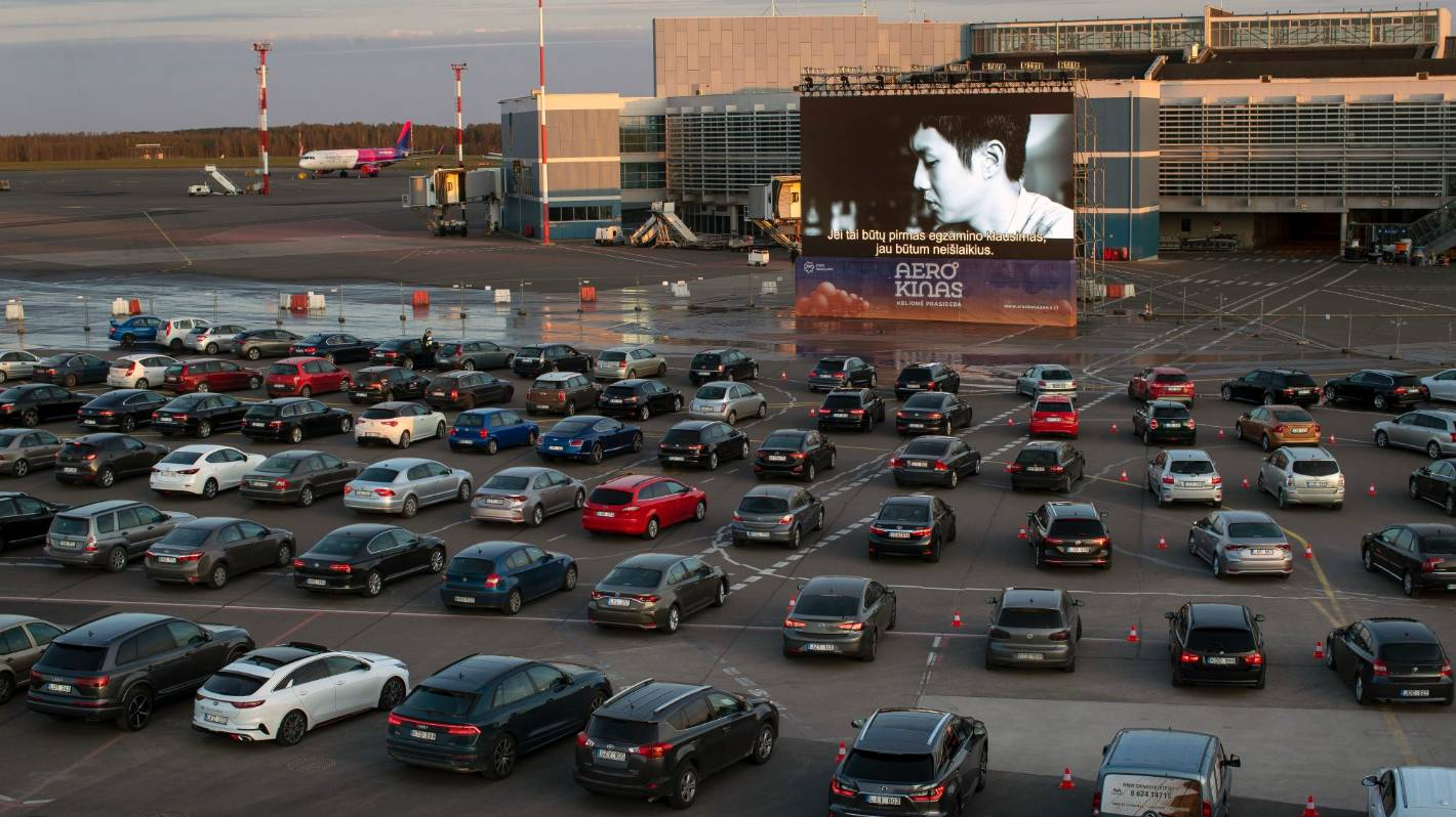 Coronavirus: Airport becomes drive-in cinema