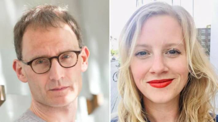 Neil Ferguson, left, has resigned from his advisory position in the UK government after breaking lockdown laws so Antonia Staats, right, could visit his home.