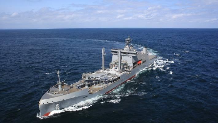 Aotearoa in mare durante le prove in un'immagine catturata dal suo costruttore, Hyundai Heavy Industries.