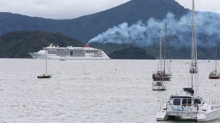 A cruise ship sailing past Waikawa Bay bound for Picton in 2019.