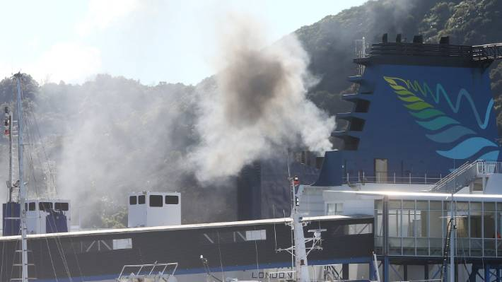 Smoke coming from an Interislander ferry docked at Picton in 2018.
