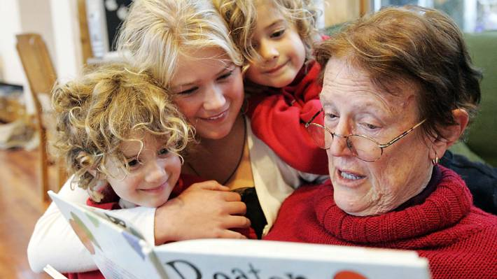 Margaret Mahy, pictured with her grandchildren Julia, Alice, and Bridget.