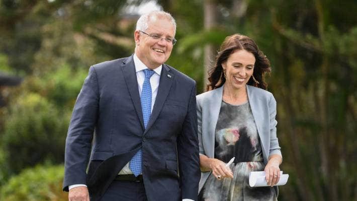 Australian Prime Minister Scott Morrison with New Zealand Prime Minister Jacinda Ardern. (File photo)