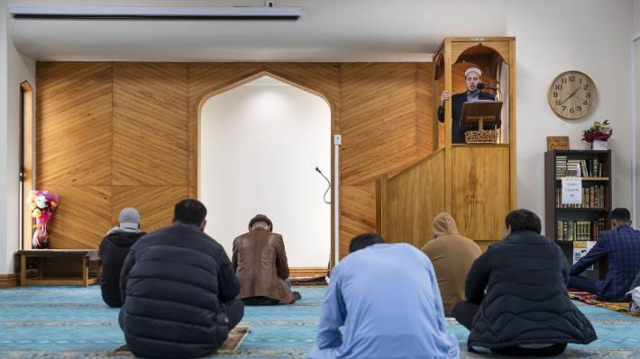 Imam Gamal Fouda leads Friday prayers at An-Nur Masjid in Christchurch after coronavirus gathering restrictions eased.