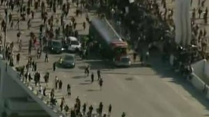 Truck ploughs into crowd
