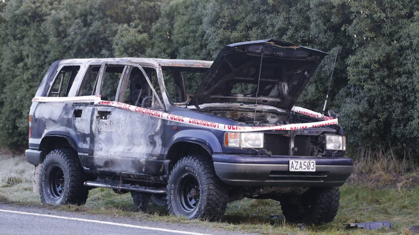 Abandoned vehicle set alight between Pleasant Point and Cave