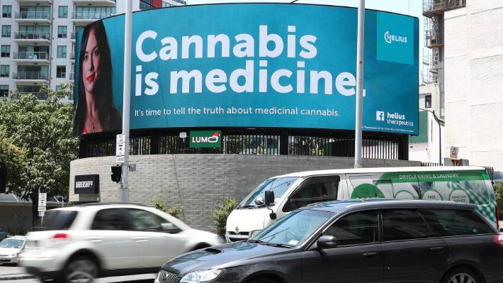 A billboard for Helius Therapeutics in Auckland during the campaign to legalise medicinal cannabis.
