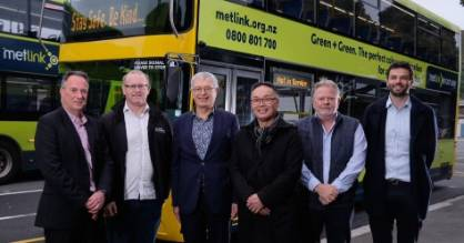 From left to right, Brendan Prince NZ Bus; Cr Daran Ponter chair, Greater Wellington; Cr Roger Blakeley, Greater ...