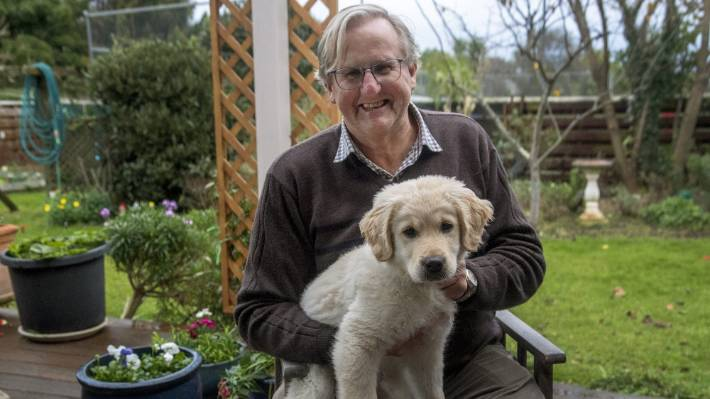 Drake, pictured at his home with dog Gus, a 3-month-old golden retriever, has reflected on a long career in medicine.