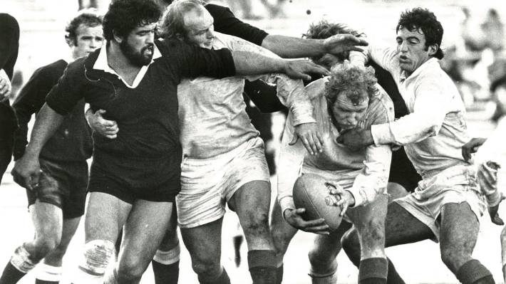 The match is thought to be an All Black trial, similar to this one from 1978 in New Plymouth.