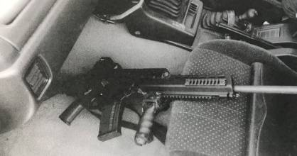 The military style semi-automatic rifle as it was transported in Richard Lincoln's vehicle in September 2015.