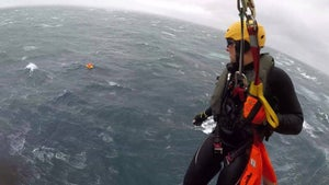Rescuers battled 10m-high waves to save sailors