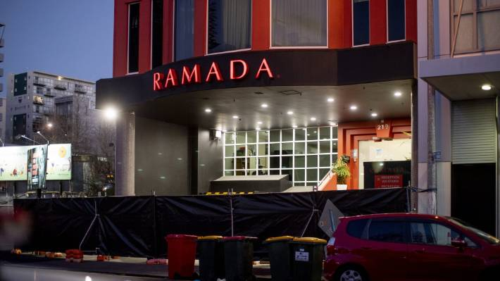 The Ramada Suites in Central Auckland just after dawn on Tuesday. The first 501 deportees are beginning to be released.