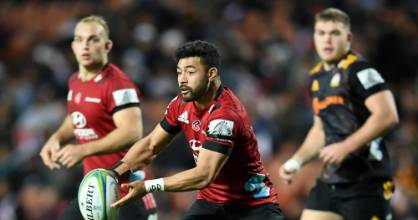 Richie Mo'unga pulls the strings for the Crusaders against the Chiefs on Saturday.