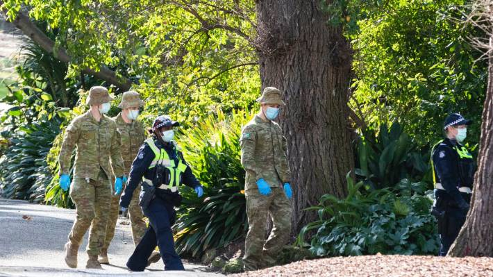 Australian Defence Force staff and Victorian police patrolling in Melbourne, which is frequently being used as a cautionary tale of what could happen to New Zealand if we're not careful.