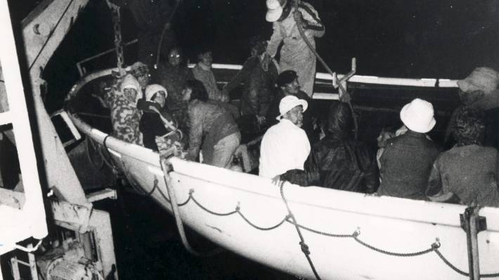 Passengers from Mikhail Lermontov are winched on to the ferry Arahura after the Russian liner sank at Port Gore.