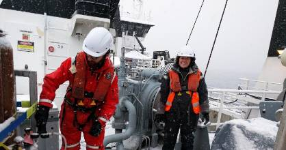 University of Canterbury researcher Peter Kuma, left, joined other scientists in rough seas as part of his PhD studies.
