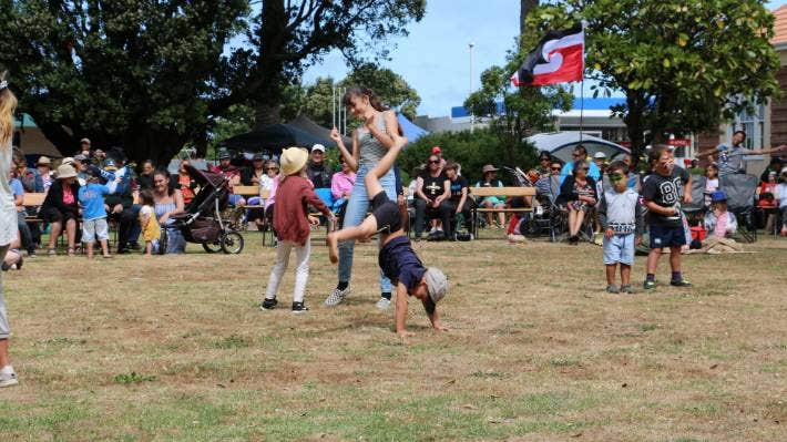 At Patea's Paepae in the Park, Quentin Smith's energetic cartwheels won him a prize in a dancing contest.