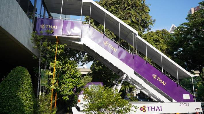 The restaurant is on the second floor at the Thai Airways HQ.