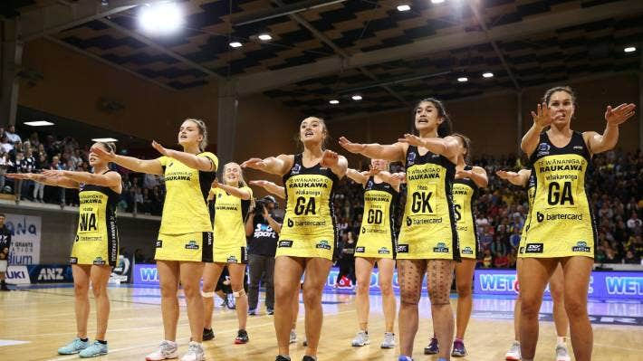 The Central Pulse perform their team haka after beating the Northern Stars in the 2019 ANZ Premiership final.