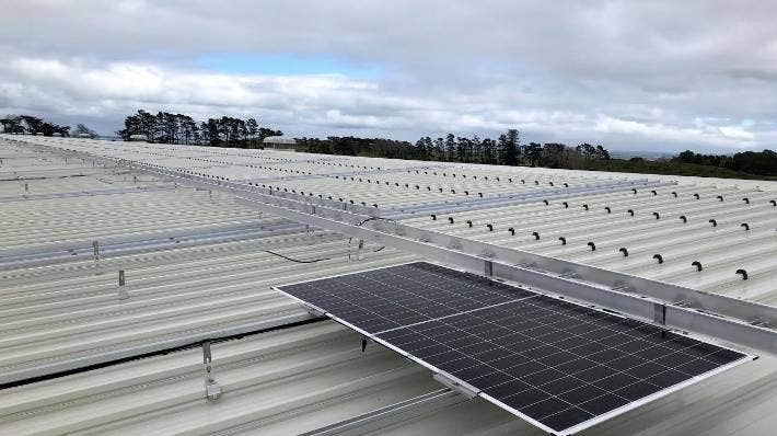 The first panel on what is to become New Zealand's largest solar panel roof was installed on Tuesday.