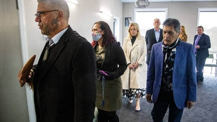 The building gets blessed. From left, cultural competency and tikanga advisers Huataki Whareaitu and Chrissy Karena, Birthing Centre director Chloe Wright, Wayne Wright, Hare Arapere and Palmerston North mayor Grant Smith.