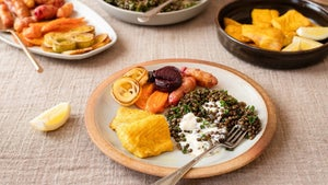 Lemony herbed lentils, rainbow roasties, golden fish