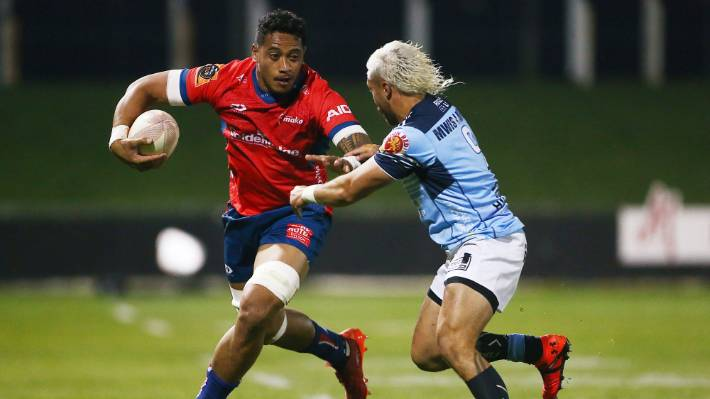 Tasman flanker Shannon Frizell on the charge against Northland in Blenheim on Friday night.