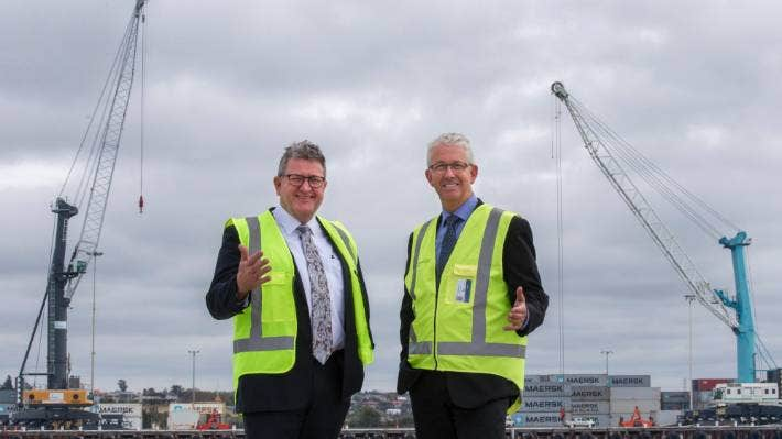 PrimePort Timaru chairman Roger Gower, left, and chief executive Phil Melhopt are pleased with a good financial year. (file)