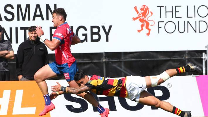 David Havili races away to score the opening try of the game in Tasman's win over Waikato in Nelson.