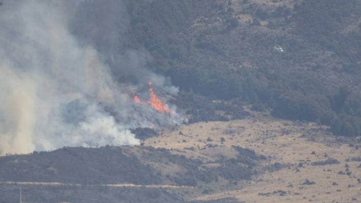 The fire was still burning beyond the Lake Ohau village on Sunday afternoon.