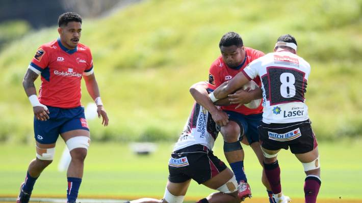 Andrew Makalio of Tasman charges forward during the Mitre 10 Cup match against North Harbour and Tasman in Albany.
