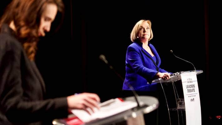 National leader Judith Collins during The Press Leaders Debate on Tuesday night.