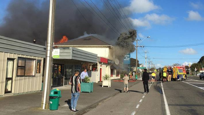 Firefighters were called to State Highway 3 in Sanson when Passionz Unique Imports and Home Decor was engulfed in flames at 5.15pm on Tuesday.