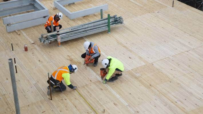 Timber walls and floors have been manufactured and shipped from Christchurch.