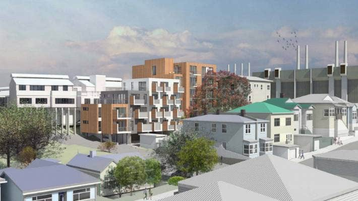 The design of the multi-storey residential apartment block submitted by Mary Potter Hospice to Wellington City Council.