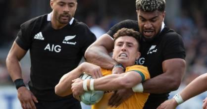 New Zealand's Hoskins Sotutu tackles Australia's Tom Banks during the second Bledisloe Cup test.