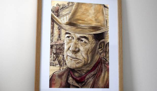 Winston Peters portrait made with red wine, coffee and tea listed on Trade Me