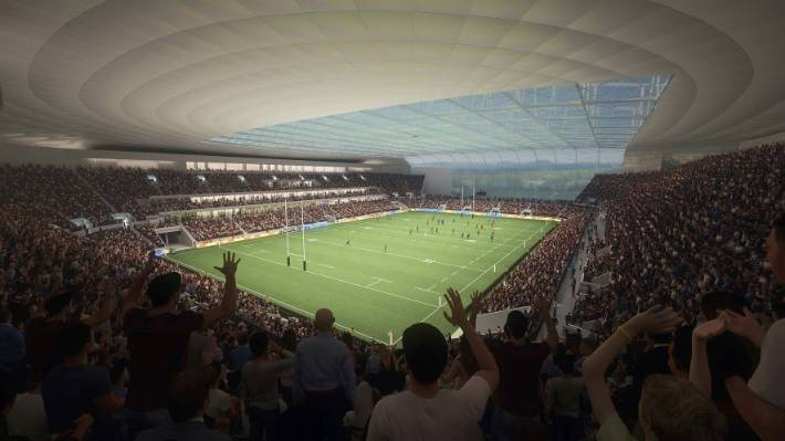 Artist impressions of inside the new Christchurch stadium. The investment case has been finalised and the plans are for a 25,000 seat facility with a clear roof costing $473 million.