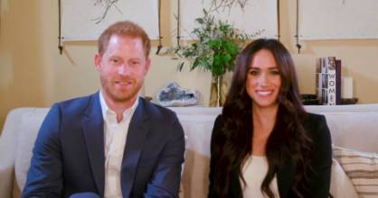 This screengrab released by Time shows Harry and Meghan, the Duke and Duchess of Sussex, hosting a special Time100 talk ...