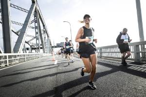Running over the Harbour Bridge is a highlight of the Auckland Marathon.