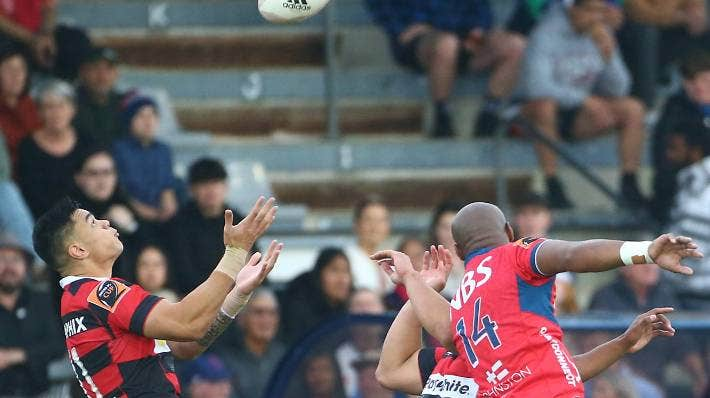 Canterbury wing Chay Fihaki goes high for the ball in the clash against Tasman in Blenheim.