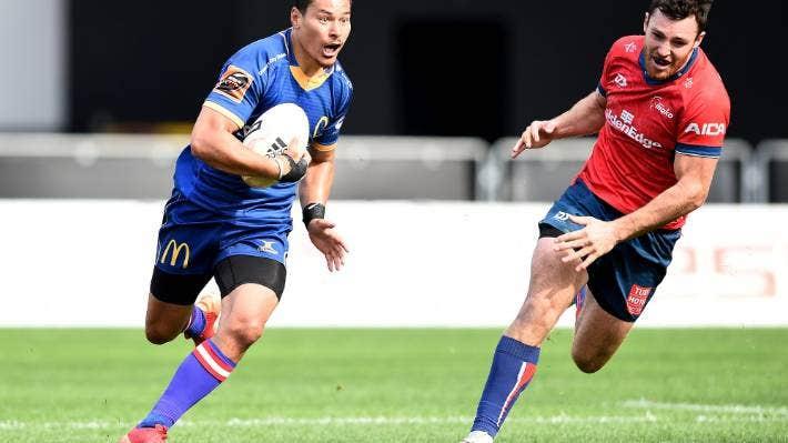 Sio Tomkinson makes a break for Otago against Tasman on Saturday.
