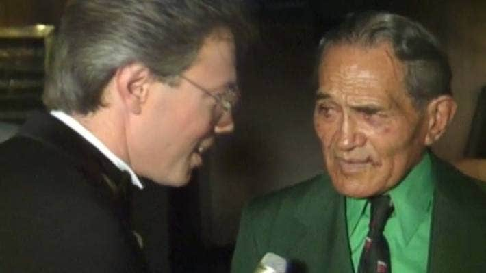 Legendary Māori sportsman George Nepia on This Is Your Life, with presenter Bob Parker.