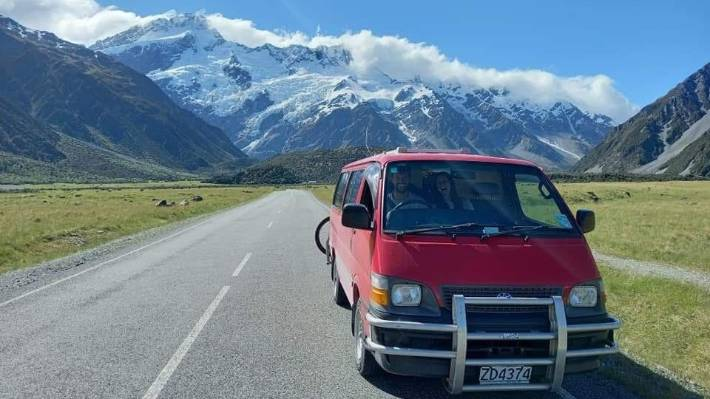 Jesse Moss and Ellen Platsoot in the Toyota Hiace which was stolen from the end of Lake Ōhau Rd.