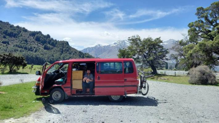 Jesse Moss in happier times in the Toyota Hiace van that has been stolen.