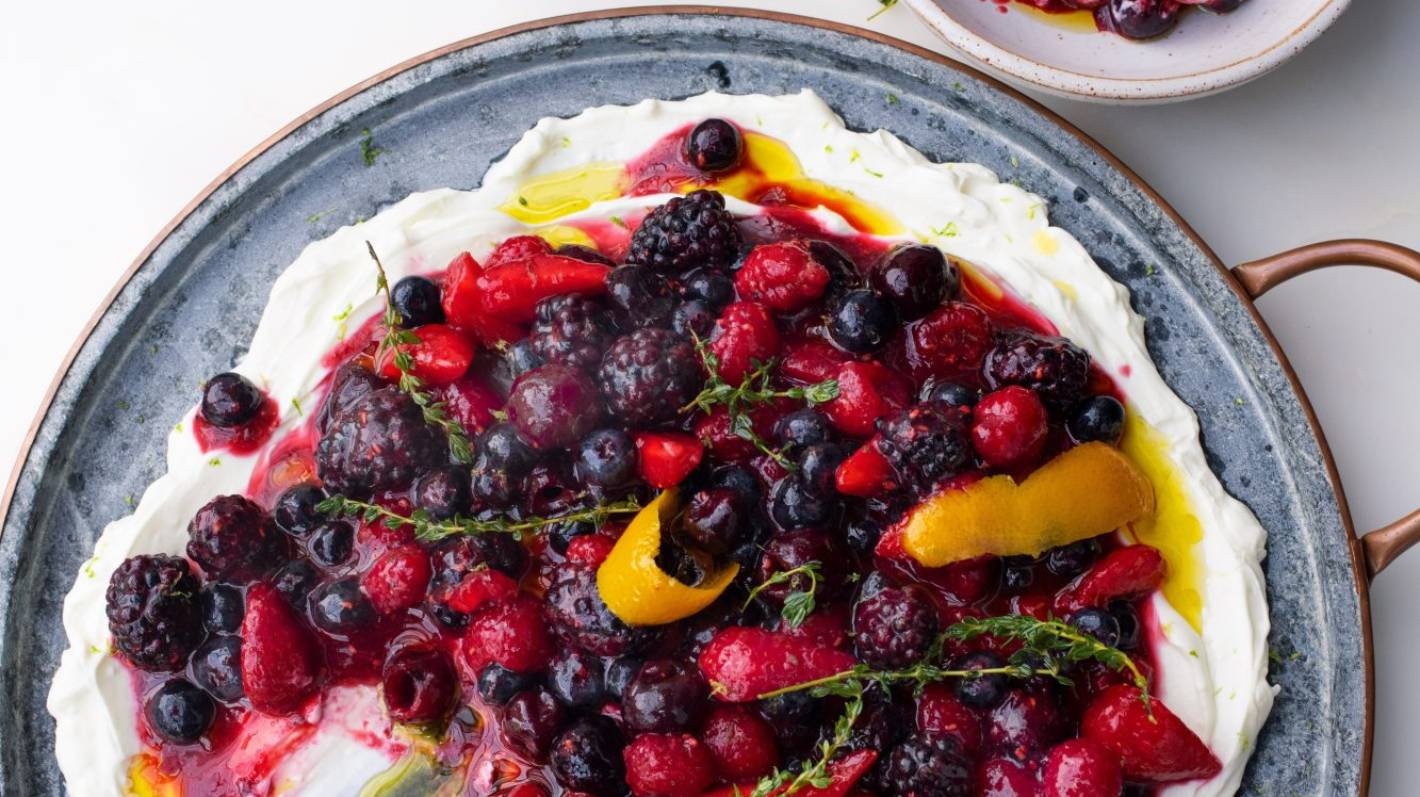 Recipe: Berry platter with sheep's labneh and orange oil by Yotam Ottolenghi