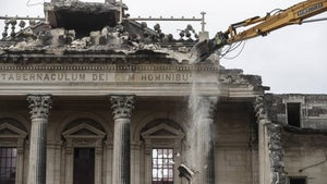 Demolition begins on Christchurch's Catholic cathedral frontage